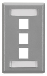 Black Box 3-Port Gray Single-Gang Keystone Wallplate WP467