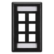 Black Box GigaStation Wallplate, 6-Port, Single-Gang, Black WP477