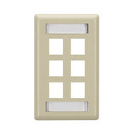 Black Box 6-Port Electric Ivory Single-Gang Keystone Wallplate WP478C