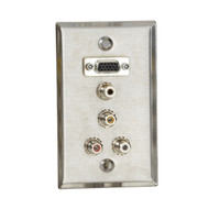 Black Box A/V Stainless Wallplate, Single-Gang, (1) VGA HD15 F, (1) 3.5-mm F, (3 WP802