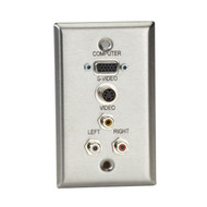 Black Box A/V Stainless Wallplate, Single-Gang, (1) VGA HD15 F, (1) S-Video F, ( WP803