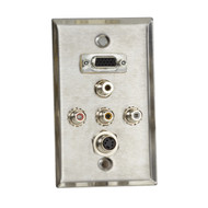 Black Box A/V Stainless Wallplate, Single-Gang, (1) VGA HD15 F, (1) S-Video F, ( WP804