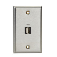 Black Box A/V Stainless Wallplate, Single-Gang, (1) USB Type A F Feed-Through Co WP830