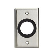 "Black Box A/V Stainless Wallplate, Single-Gang, Rubber Grommet, 1 1 / 2 "" Hole, WP842"
