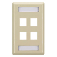 Black Box 4-Port, Ivory Single-Gang Keystone Wallplate WPT472