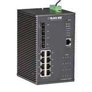 Black Box Industrial Managed Gigabit Ethernet PoE+ Switch - 8-Port RJ-45, 4-Port LPH2008A-4GSFP
