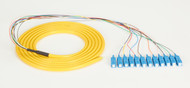 Black Box OS1 Single-Mode Fiber Optic Pigtail, 12-Strand, SC, Yellow, 3-m (9.8-f FOPT50S1-SC-12YL-3