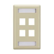 Black Box GigaStation Plus Wallplate, Single-Gang, 4-Port, Ivory WP472C