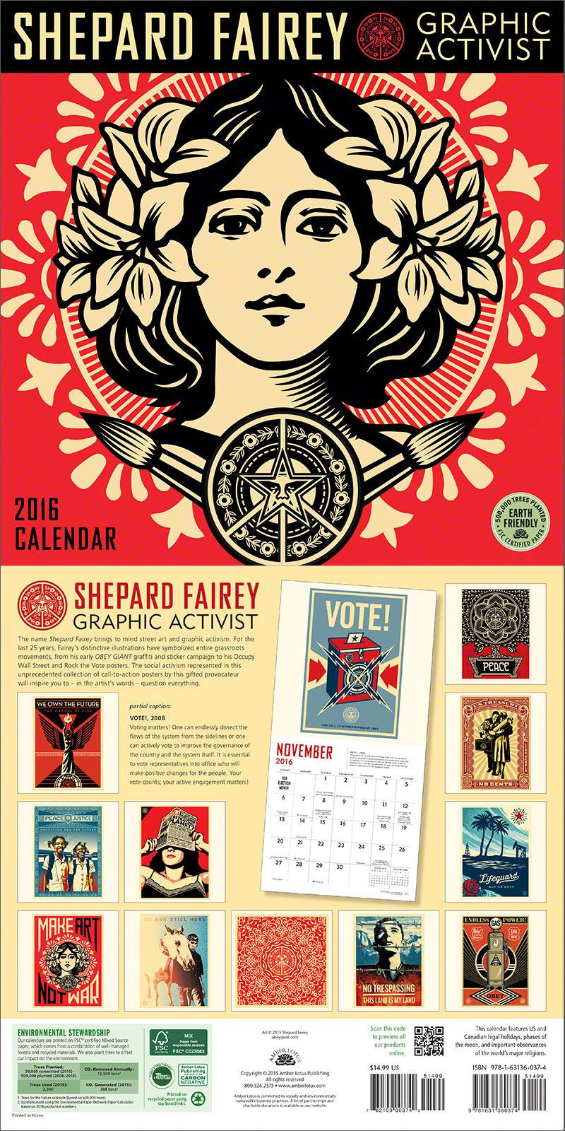 New Calendar — Shepard Fairey 2016 Wall Calendar - Amber Lotus ...