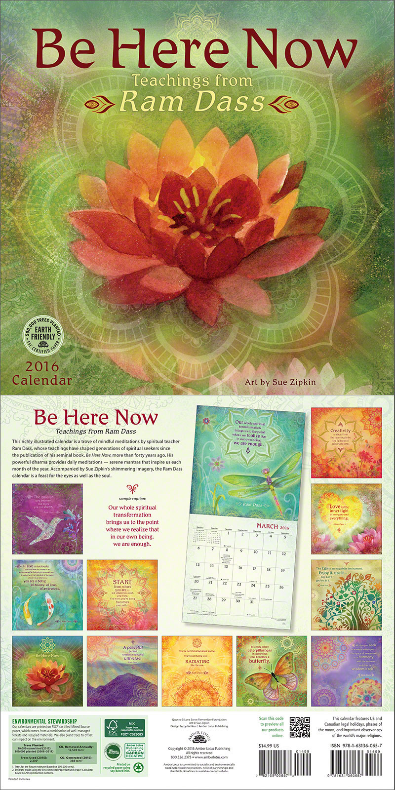 Be Here Now 2016 wall calendar with text by Ram Dass