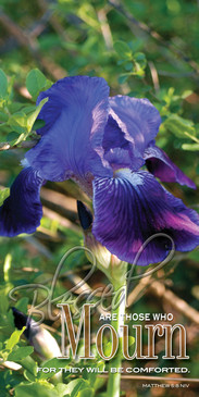 Church Banner featuring Purple Iris with Message from Beatitudes Series