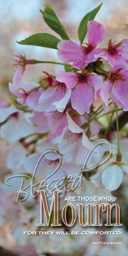 Church Banner featuring Flowers with Message from Beatitudes Series