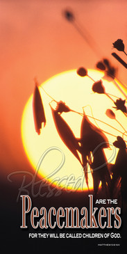 Church Banner featuring Sun/Grain with Peacemakers from Beatitudes Series