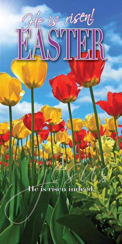Church Banner featuring Brightly Colored Tulips with Easter Theme