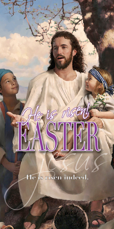 Church Banner featuring Jesus and Child with He Is Risen Easter Theme
