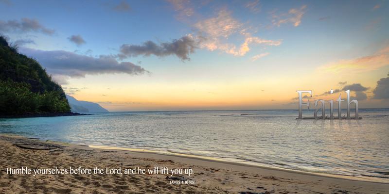 Church Banner featuring Ke`e Beach Sunset on Kauai with Faith Theme