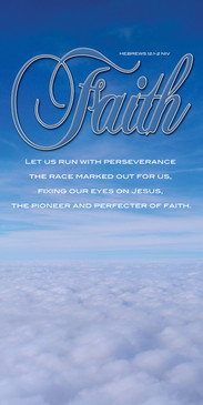 Church Banner featuring Fluffy White Clouds with Faith Theme
