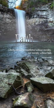 Church Banner featuring Waterfall and Rocks with Faith Theme