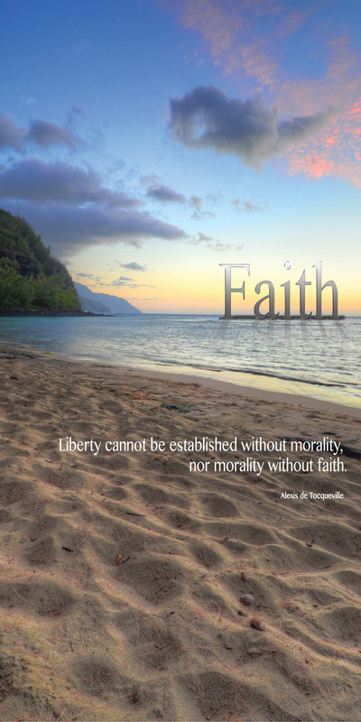 Church Banner featuring Ke`e Beach Kauai at Sunset with Faith Theme