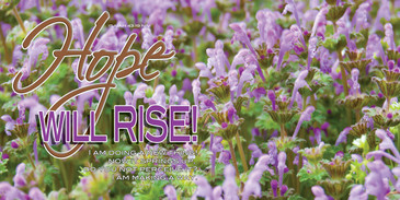 Church Banner featuring Purple Flowers with Hope Will Rise Theme
