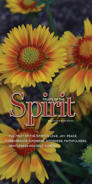 Church Banner featuring Yellow Flowers with Fruits of the Spirit Theme
