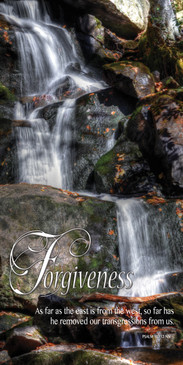 Church Banner featuring Flowing Waterfall with Forgiveness Theme