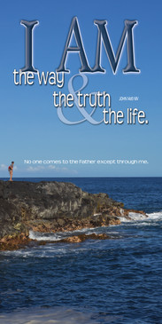 Church Banner featuring Man/Rock/Ocean with I Am the Way, Truth & Life Theme