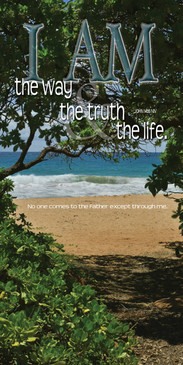 Church Banner featuring Tropical Waves with I Am the Way, Truth & Life Theme