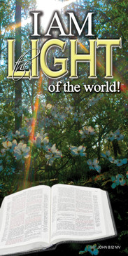 Church Banner featuring Bible/Sun Rays with I Am the Light of the World Theme