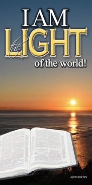 Church Banner featuring Bible/Sunset with I Am the Light of the World Theme