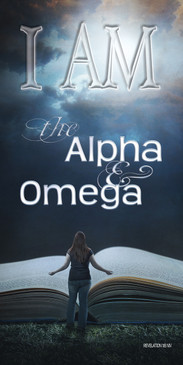 Church Banner featuring Open Bible with I Am the Alpha and Omega Theme