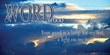 Church Banner featuring Sun Breaking Through Clouds with Word of God Theme