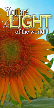 Church Banner featuring Sunflower with Light of the World Message