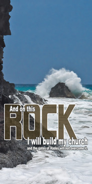 Church Banner featuring Crashing Waves on Rock with Inspirational Message