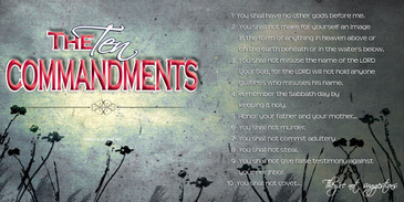 Church Banner featuring Blue/Gray Grunge with the Ten Commandments