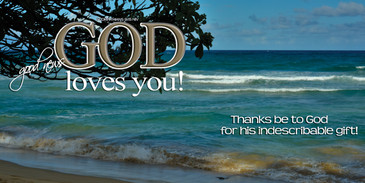 Church Banner featuring Beach/Waves with God Loves You Theme
