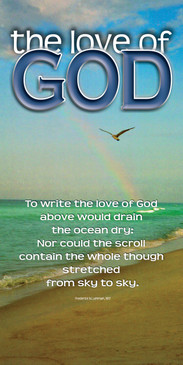 Church Banner featuring Rainbow at Ocean with Love of God Theme