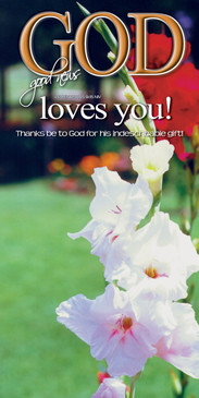 Church Banner featuring Gladiolas with God Loves You Theme