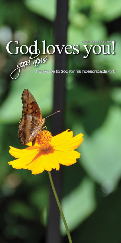 Church Banner featuring Butterfly/Yellow Flower with God Loves You Theme
