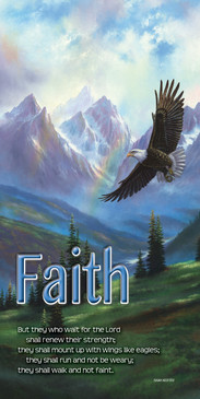 Church Banner featuring Eagle Soaring Over Mountain with Faith Theme