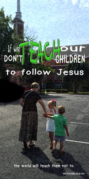 Church Banner featuring Adult Taking Children To Church Theme