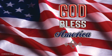 Church Banner featuring Flag with GOD Bless America Theme