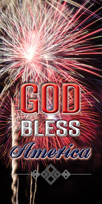 Church Banner featuring Exploding Fireworks with God Bless America Theme