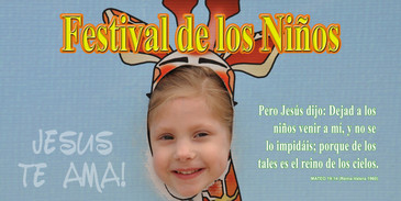 Spanish Church Banner featuring Young Girl with Children's Festival Theme