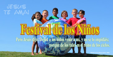 Spanish Church Banner featuring Youth with Children's Festival Theme
