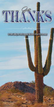 Church Banner featuring Large Saguaro Cactus with Thanksgiving Theme