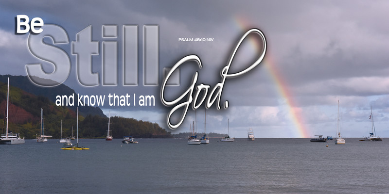 Church Banner featuring Rainbow over Bay with Be Still and Know Theme