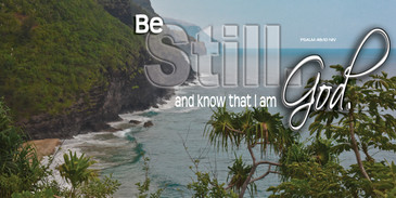 Church Banner featuring Tropical Setting with Be Still and Know Theme