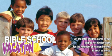 Church Banner featuring Multi-ethnic Kids Group and VBS Theme