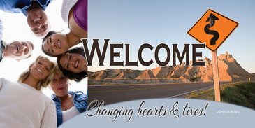 Church Banner featuring Young Adults and Welcome Theme